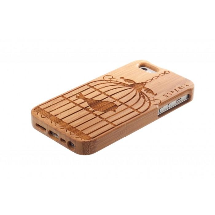 Dřevěný kryt esperia allure bird bambus na iphone 5 5s